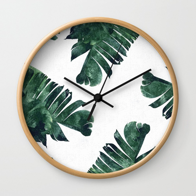 banana-leaf-watercolor-pattern-society6-wall-clocks