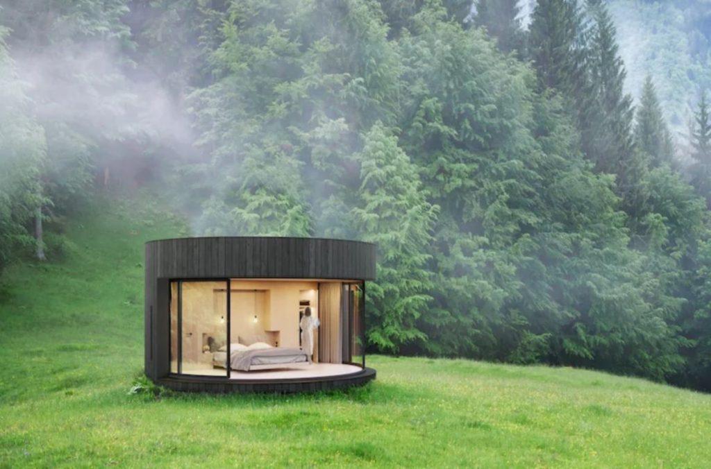 法國,玻璃,小屋,旅館,自然,節能,環保,永續,預製,模塊化,建築,瘋設計